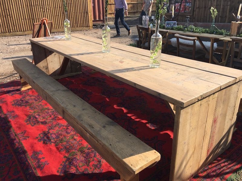 10ft Upcycled Board Table And Bench Set 163 100 Wooden